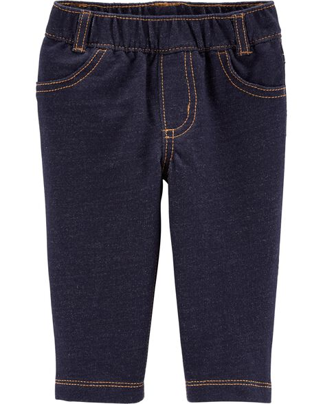 French Terry Knit Denim Pants