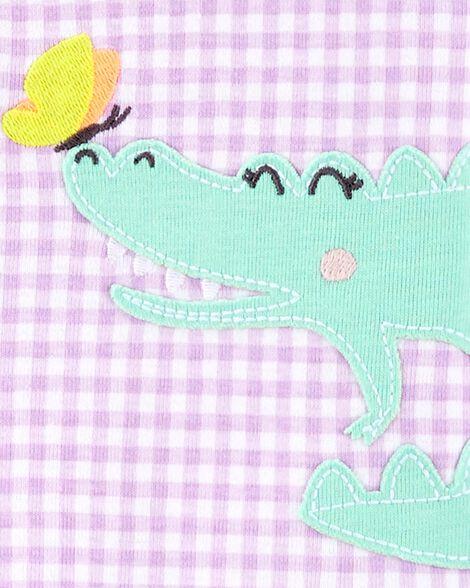 1-Piece Gingham Alligator Snug Fit Cotton Footie PJs