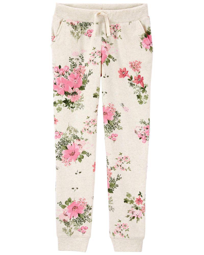 Pantalon en molleton fleuri à logo, , hi-res
