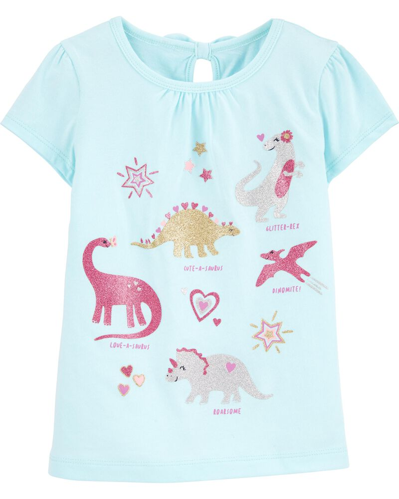 T-shirt en jersey avec dinosaure et nœud au dos, , hi-res