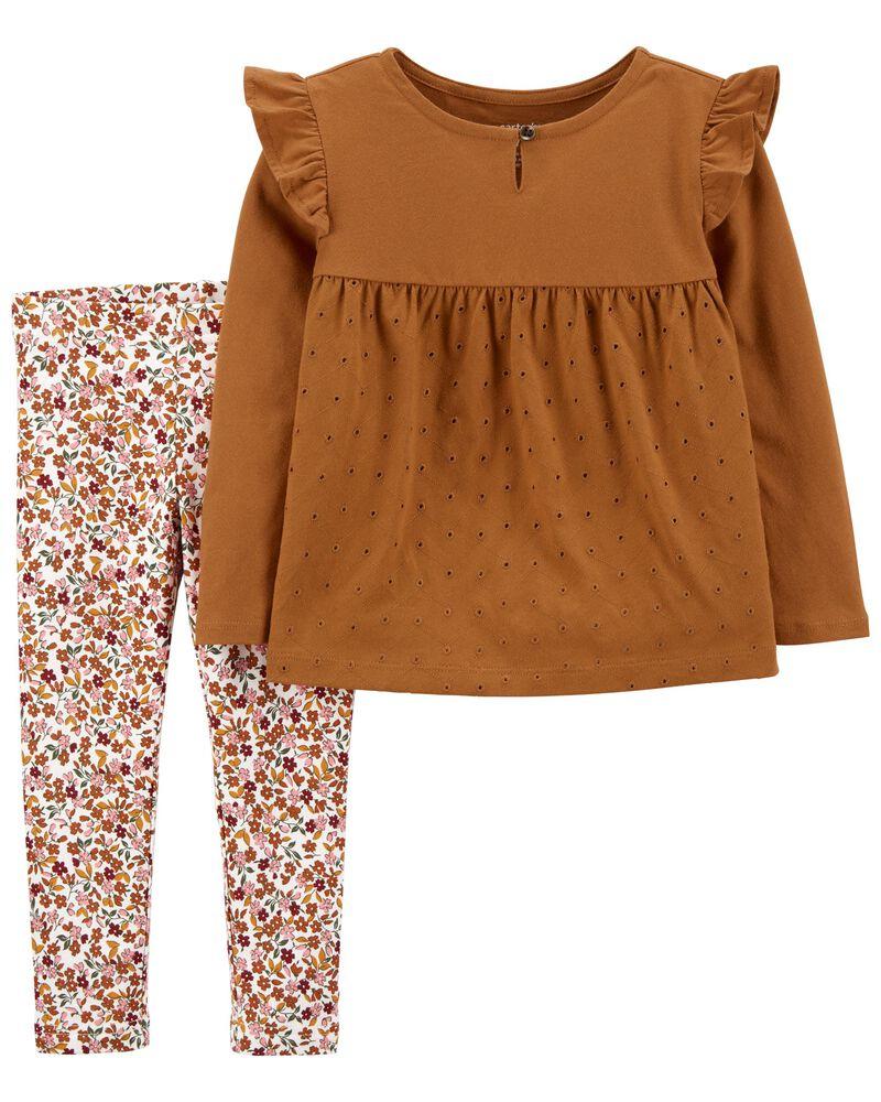 2-Piece Eyelet Jersey Top & Floral Leggings, , hi-res