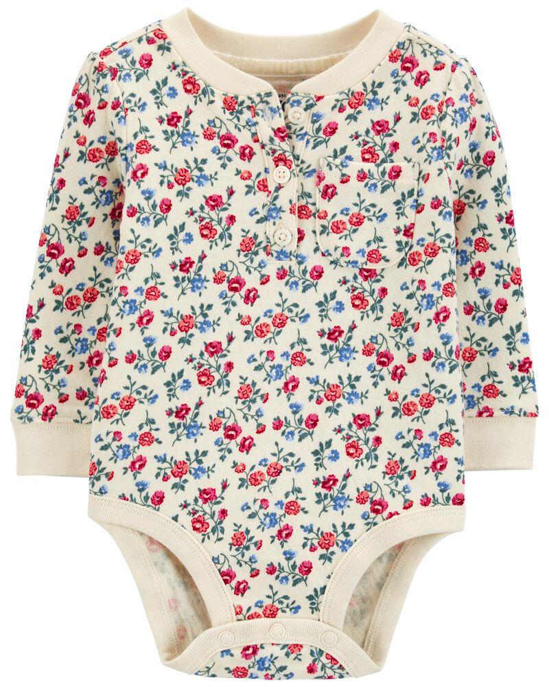 Double-Knit Henley Bodysuit, , hi-res