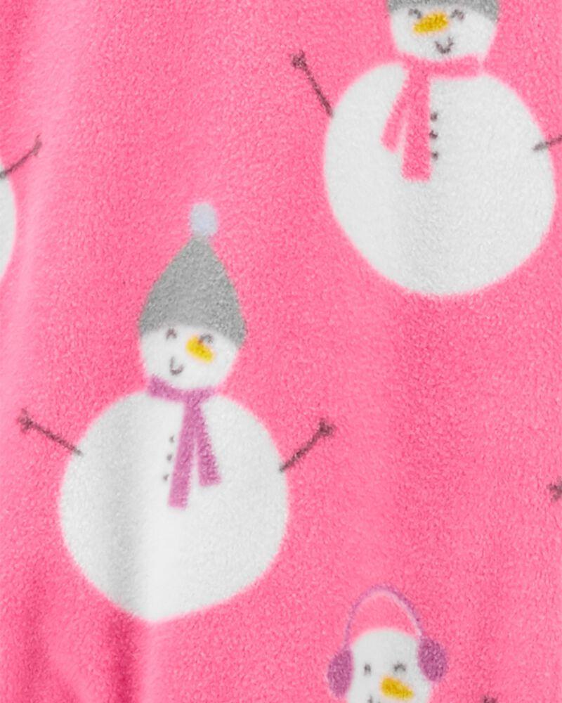 1-Piece Snowman Fleece Footie PJs, , hi-res