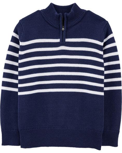 Half-Zip Knit Striped Pullover