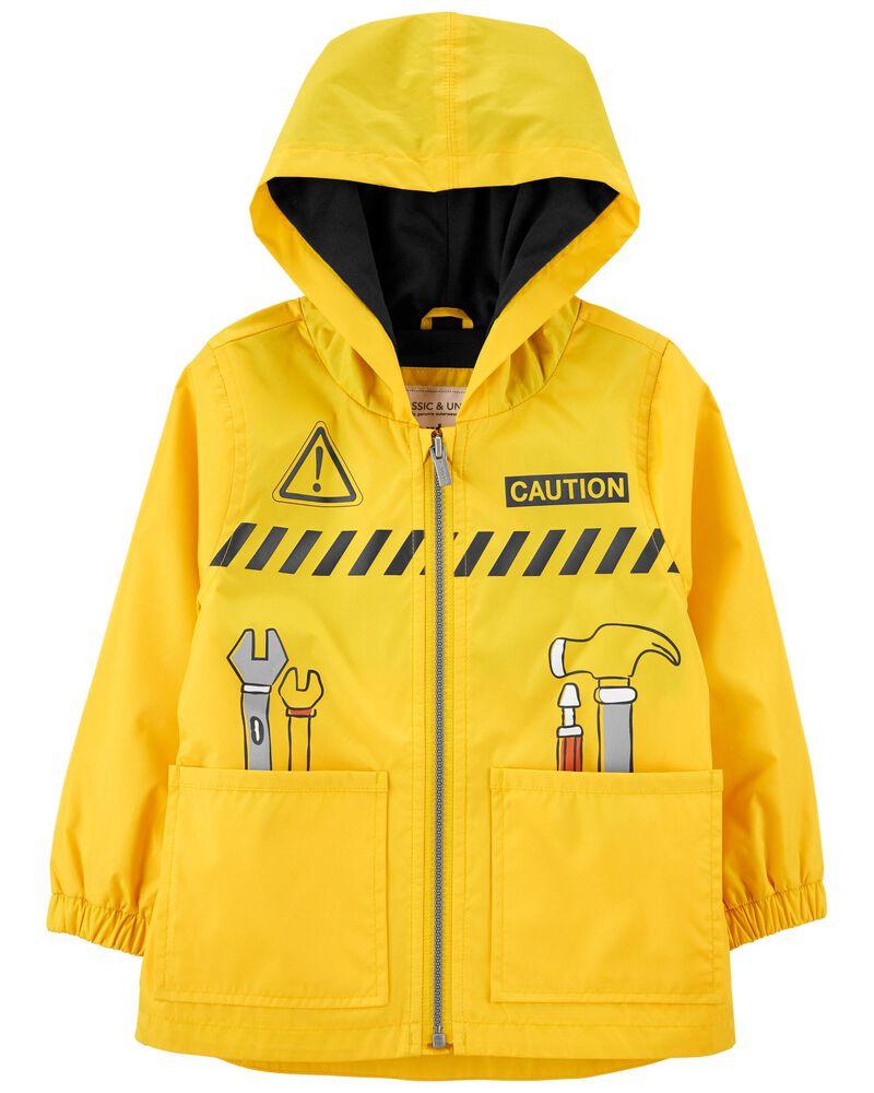 Construction Print Rain Jacket, , hi-res