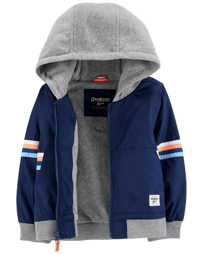 Hooded Fleece-Lined Bomber Jacket, , hi-res