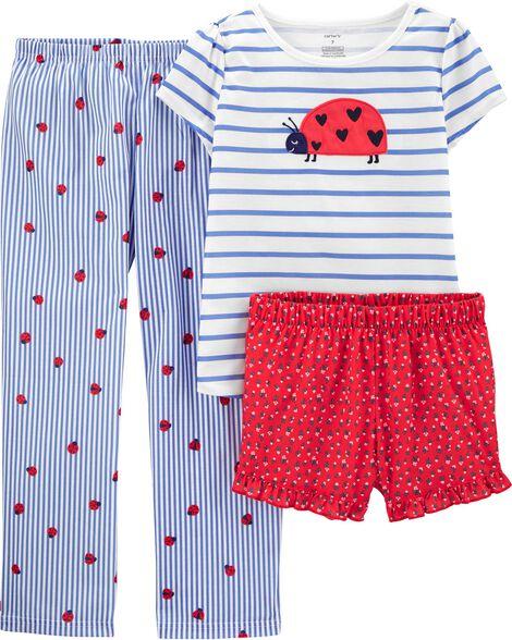Pyjama 3 pièces en polyester rayé à coccinelle