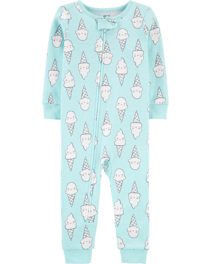 Pyjama 1 pièce sans pieds en coton ajusté à motif crème glacée, , hi-res