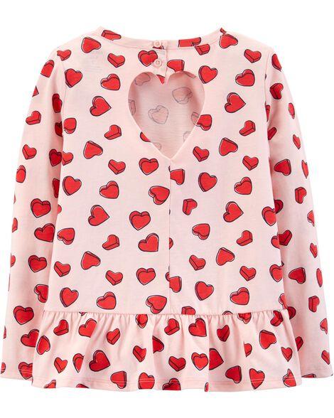 Heart Print Peplum Top