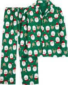 2-Piece Adult Holiday Coat-Style Fleece PJs, , hi-res