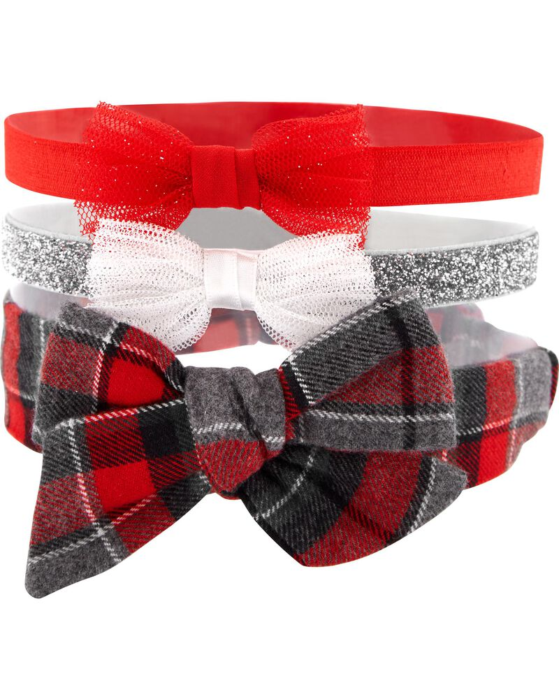 3-Pack Holiday Headwraps, , hi-res