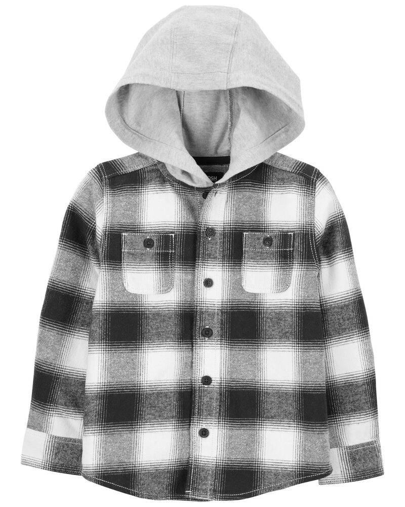 Hooded Flannel Button-Front Shirt, , hi-res