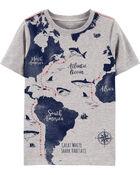 T-shirt en jersey à imprimé de carte avec requins, , hi-res