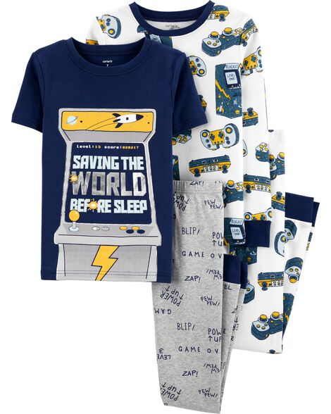 4-Piece Video Game Snug Fit Cotton PJs