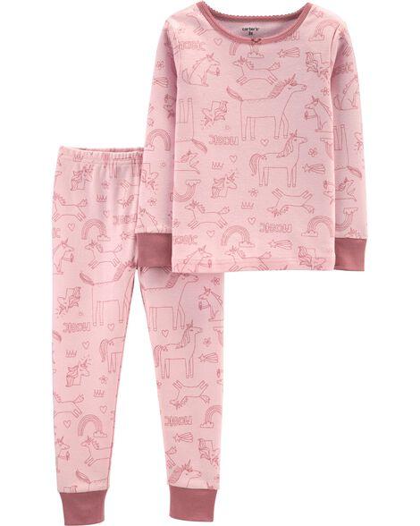 Pyjama 2 pièces en coton ajusté motif licorne