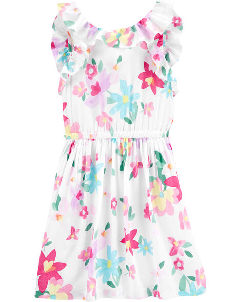 Floral Flutter Poplin Dress