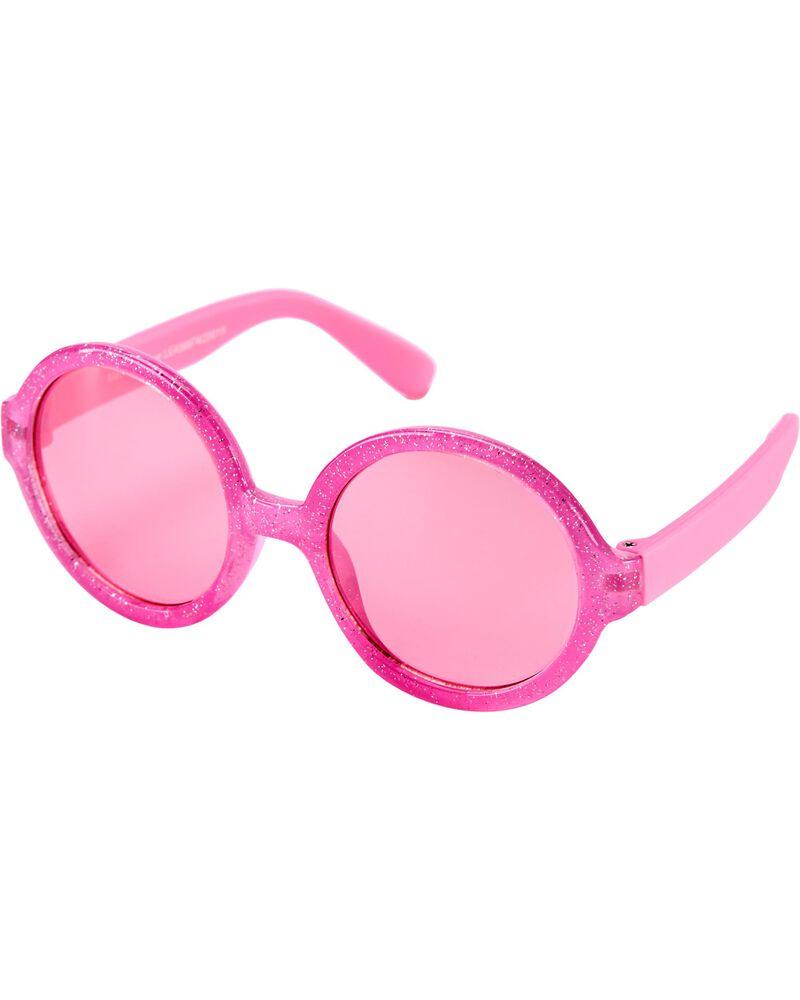 Pink Glitter Round Sunglasses, , hi-res