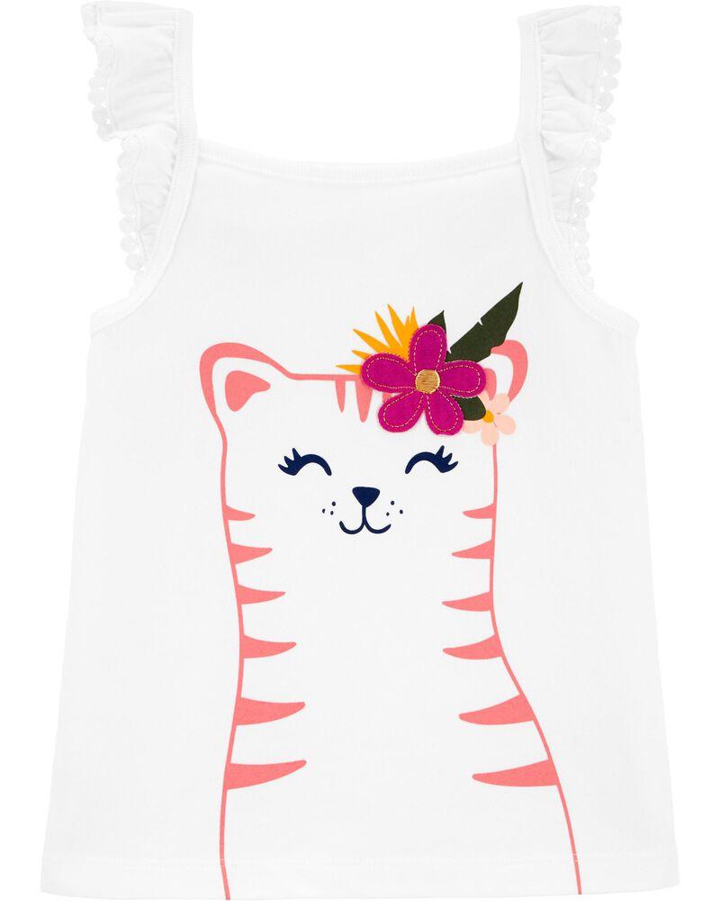 Débardeur en jersey avec fleurs et chat, , hi-res
