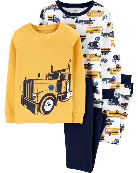 4-Piece Construction Truck Snug Fit Cotton PJs