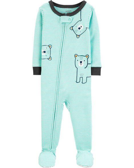 Pyjama 1 pièce à pieds en coton ajusté motif ourson