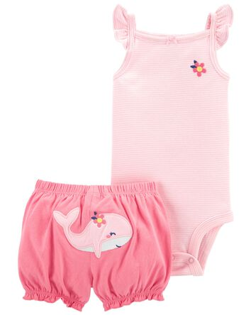2-Piece Flutter Bodysuit & Short Se...