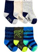 6 paires de chaussettes mi-mollet dinosaure, , hi-res