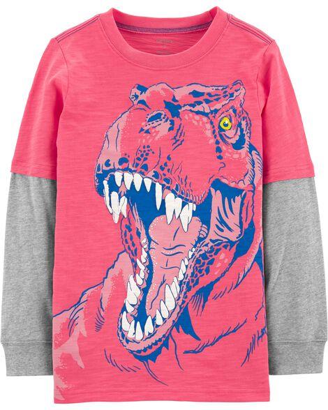 T-shirt de style superposé à dinosaure