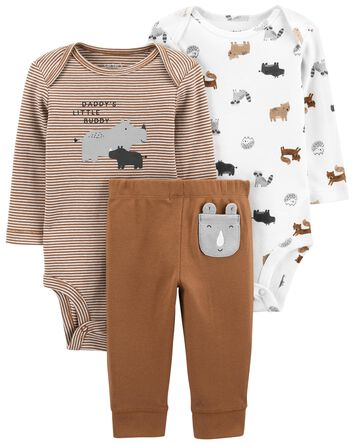 3-Piece Animals Bodysuit Pant Set