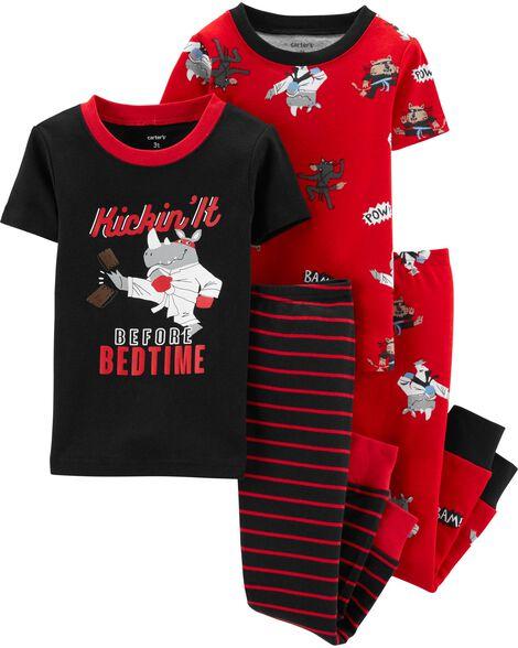 4-Piece Ninja Snug Fit Cotton PJs