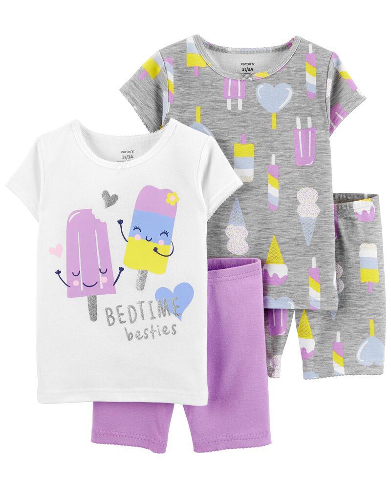 Pyjama 4 pièces en coton ajusté motif crème glacée, , hi-res