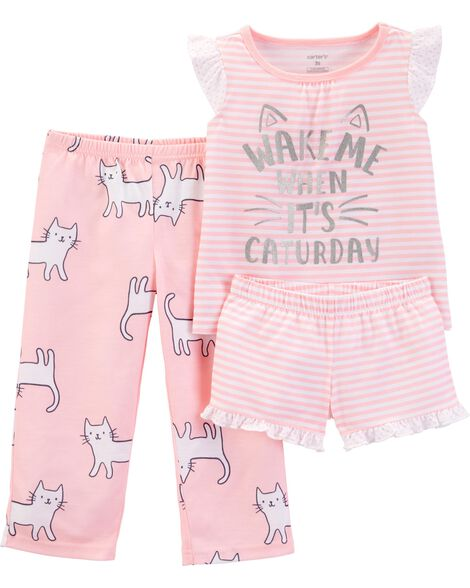 3-Piece Cat Poly PJs