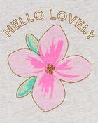 Haut à basque à fleurs scintillantes, , hi-res