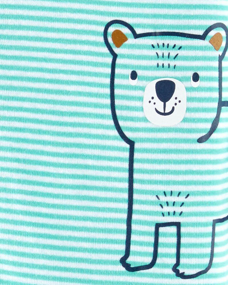 Pyjama 1 pièce sans pieds en coton ajusté à motif ourson, , hi-res