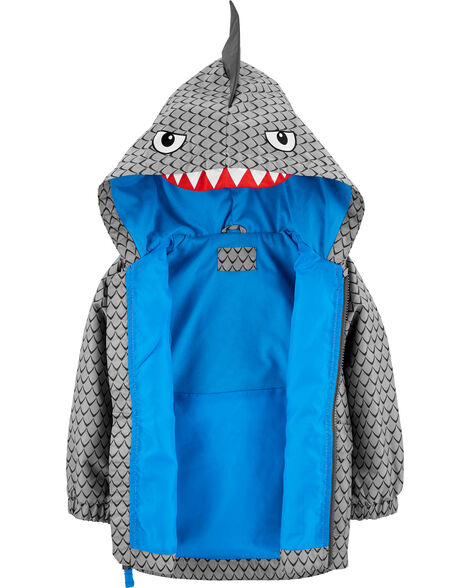 Hooded Shark Lightweight Rain Jacket