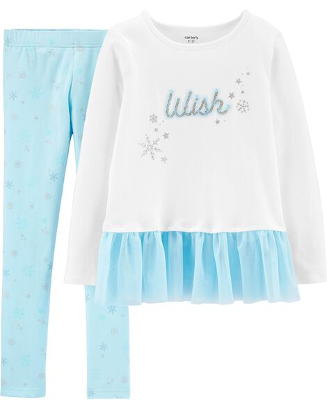 2-Piece Wish Peplum Top & Snowflake Legging Set