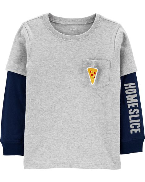 T-shirt en jersey de style superposé à pizza interactive