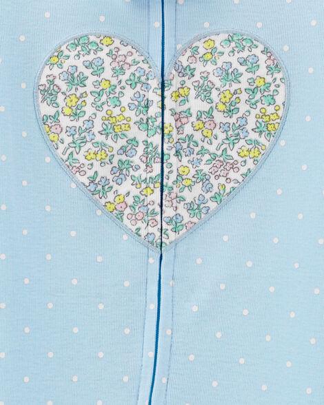 1-Piece Floral Heart Snug Fit Cotton Footie PJs