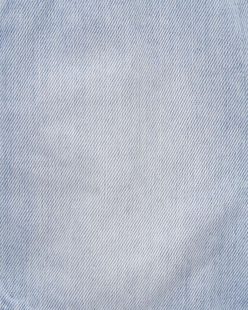 Eyelet Denim Shortalls in Pastel Wash, , hi-res