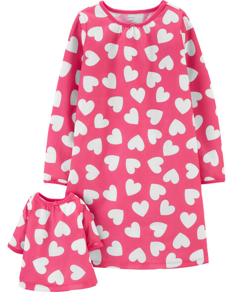 Hearts Matching Nightgown & Doll Nightgown Set
