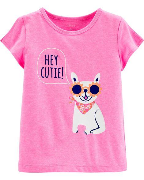 T-shirt en jersey à ouverture sur les épaules et chien