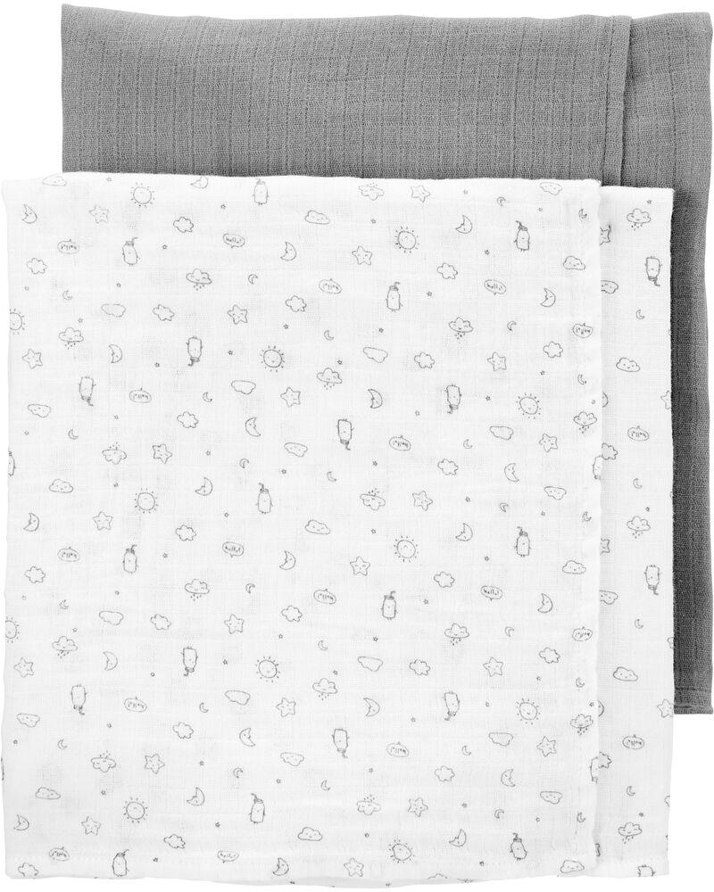 Emballage de 2 couvertures en mousseline, , hi-res