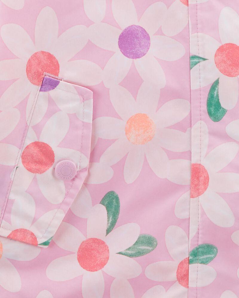 Fleece-Lined Daisy Print Rain Jacket, , hi-res