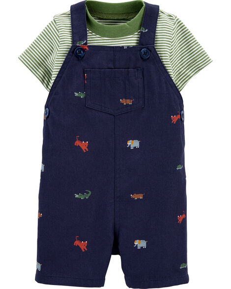 2-Piece Striped Tee & Animal Shortall Set