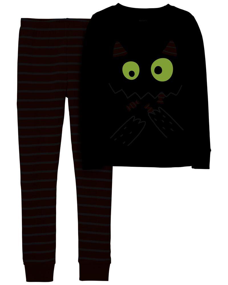 Pyjama à chat d'Halloween 2 pièces en coton ajusté, , hi-res