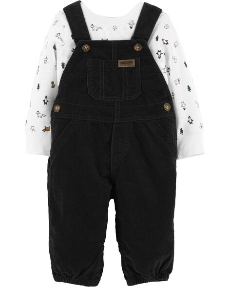 2-Piece Holiday Tee & Overalls Set