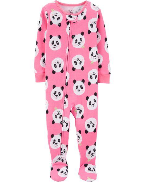 Pyjama 1 pièce à pieds en coton ajusté motif panda