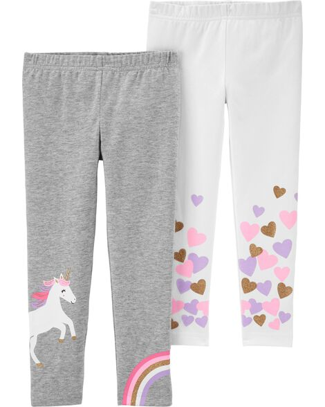 2-Pack Unicorns & Hearts Leggings