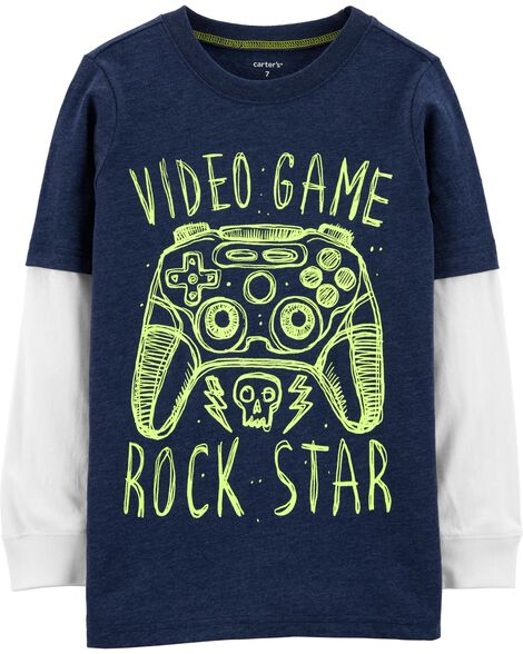 Video Game Rock Star Layered-Look Tee