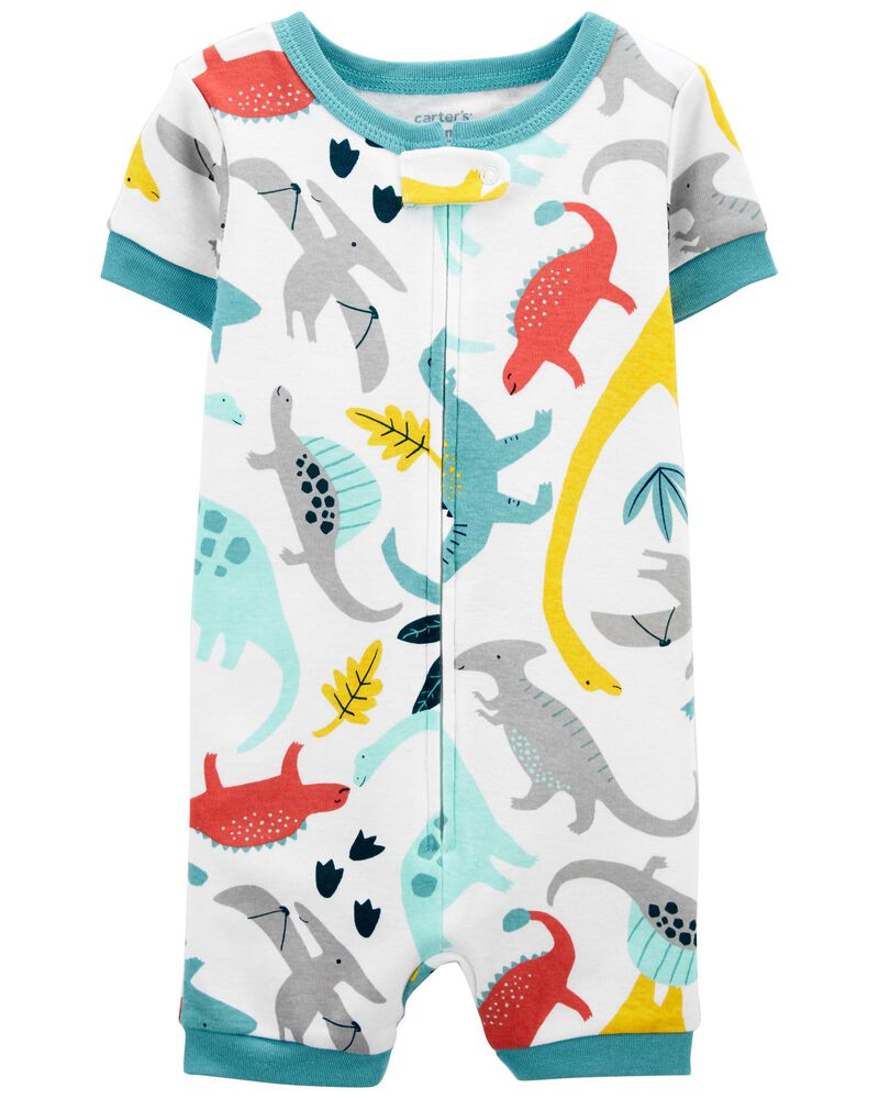 1-Piece Dinosaur 100% Snug Fit Cotton Romper PJs, , hi-res