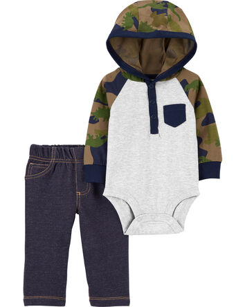 2-Piece Hooded Bodysuit Pant Set